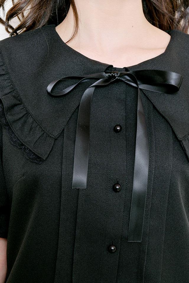 【MA*RS】三角レース襟ブラウス - ブラック size-F