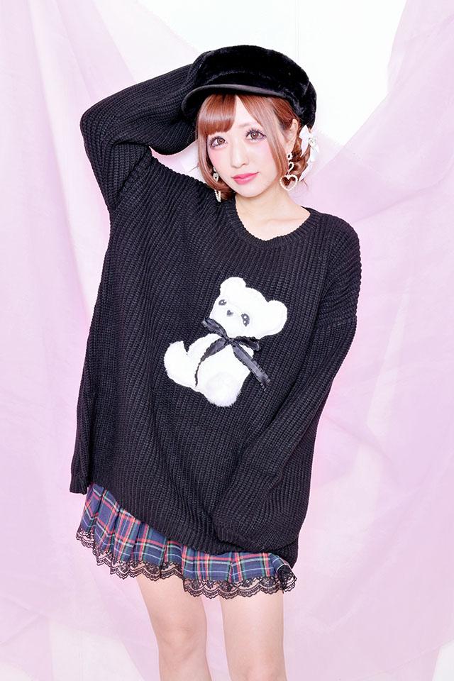 【Princess Melody】おりぼん付きふぁーキャスケット - ブラック size-F
