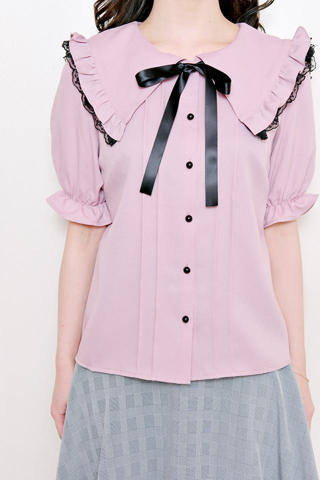 【MA*RS】三角レース襟ブラウス - ピンク size-F