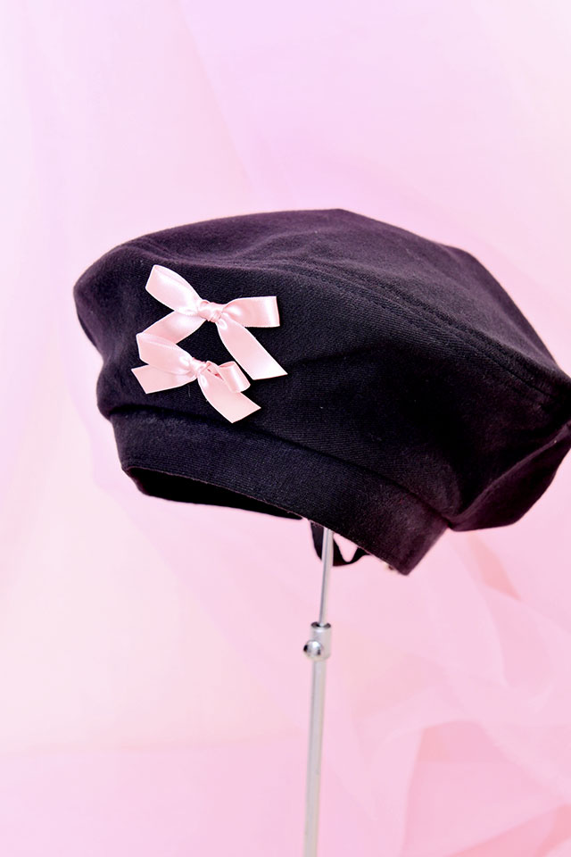 【Princess Melody】♪おりぼんベレー帽♪ - BLK/ピンク size-F
