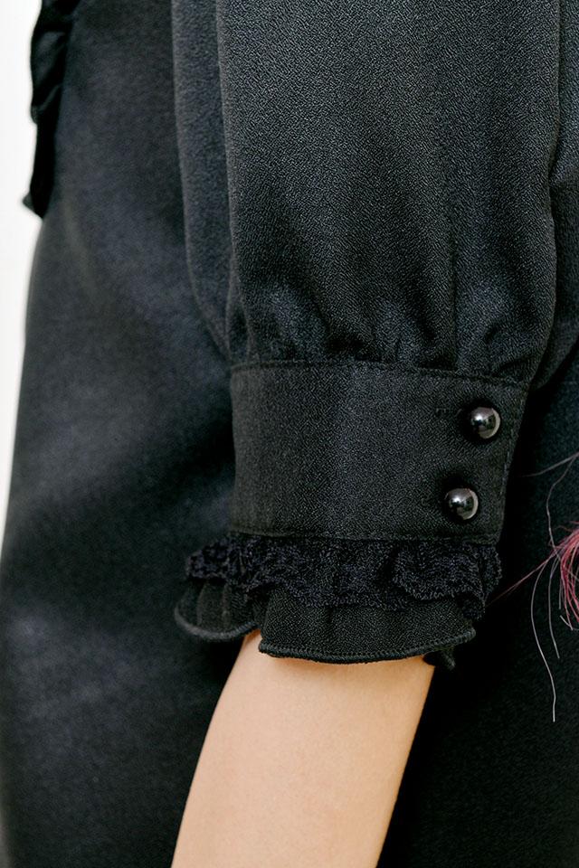 【MA*RS】ヨーク付裾フリルブラウス - ブラック size-F