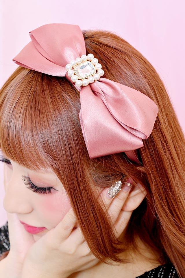 【Princess Melody】♪きらきらビジューおりぼんカチューシャ♪ - ピンク size-F