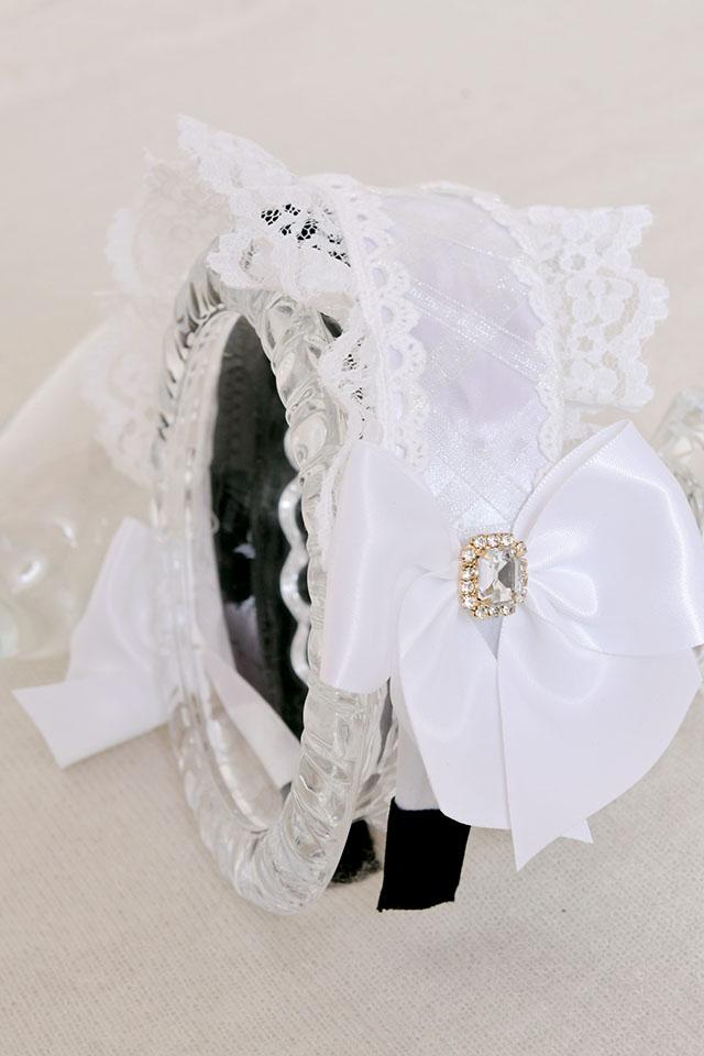 【Princess Melody】♪ふりふりヘッドドレスカチューシャ♪ - ホワイト size-F