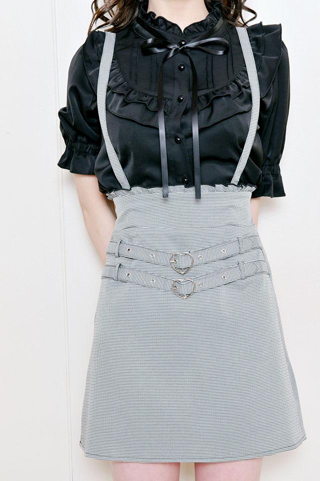【MA*RS】Wハートベルト台形スカート - BLK/ホワイト size-F