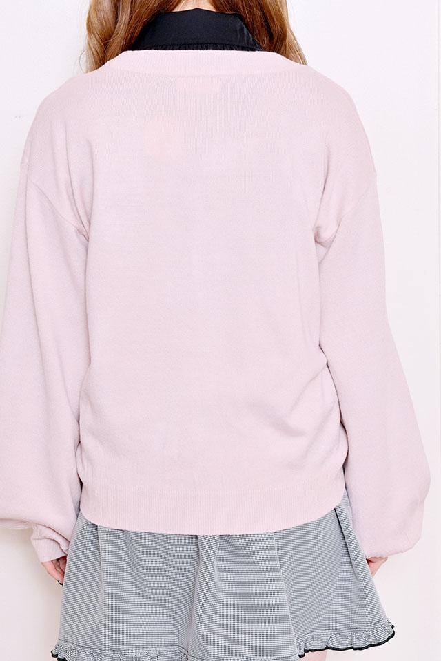 【MA*RS】レースアップりぼんポケット付きカーデ - ピンク size-F