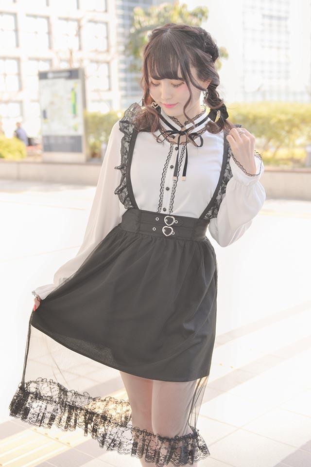 【MA*RS】ハートバックルロングスカート - ブラック size-F
