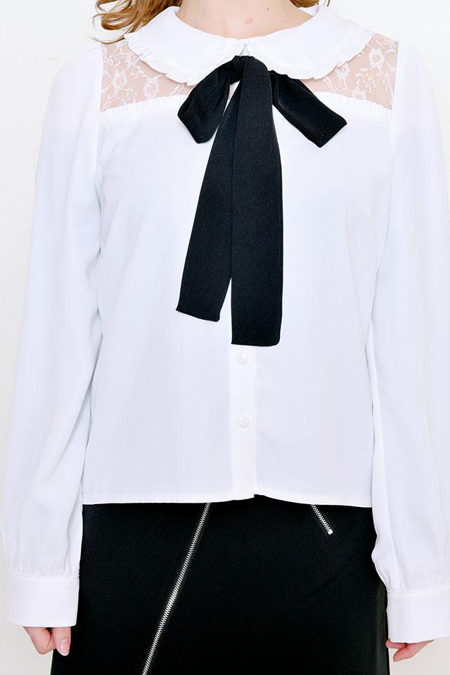 【MA*RS】丸襟レース切替リボン付きブラウス - ホワイト size-F