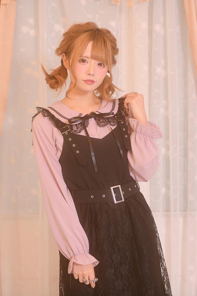 【MA*RS】ベルト付きレースカバーワンピ - ブラック size-F
