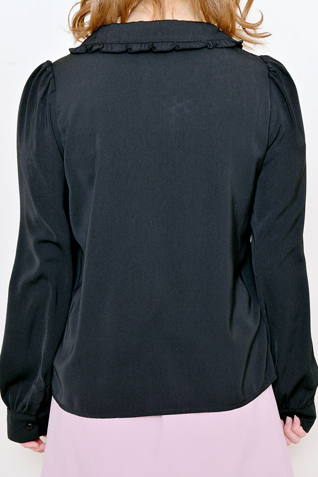 【MA*RS】丸襟レース切替リボン付きブラウス - ブラック size-F