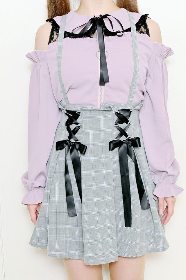【MA*RS】☆WEB限定☆ダブルリボンスカート - BLK/ホワイト size-F