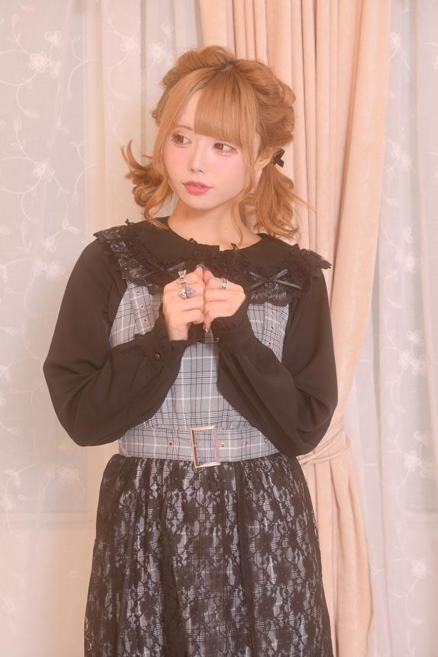 【MA*RS】ベルト付きレースカバーワンピ - BLK/ホワイト size-F