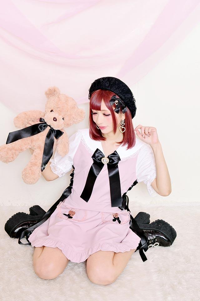 【Princess Melody】♪くまたん刺繍ポケットセーラーワンピ♪ - PNK/ホワイト size-F