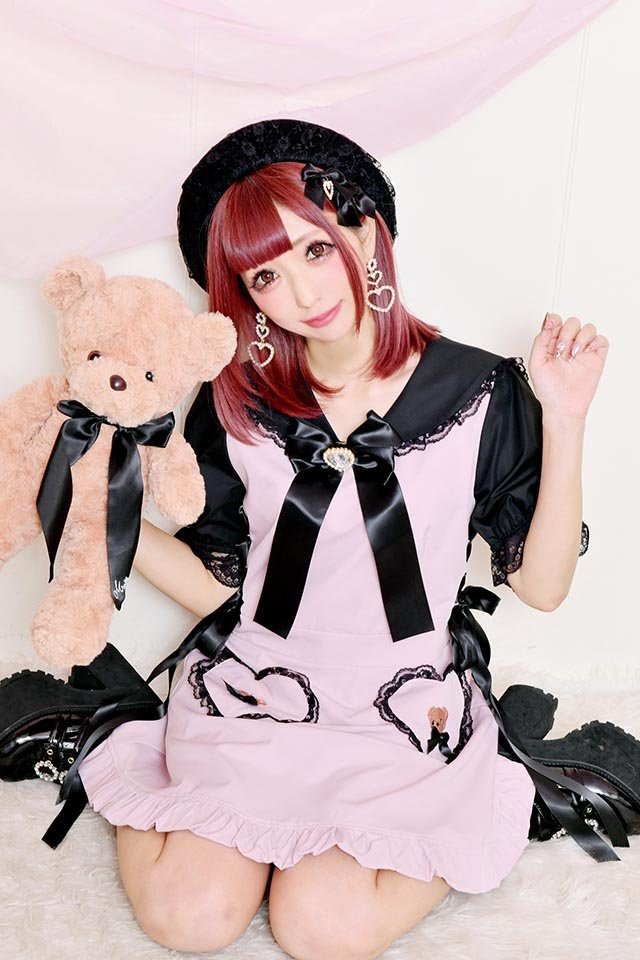 【Princess Melody】♪くまたん刺繍ポケットセーラーワンピ♪ - PNK/ブラック size-F