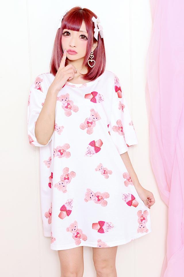 【Princess Melody】♪ソフトくりぃむくまちゃん Tシャツワンピ♪ - ホワイト size-F
