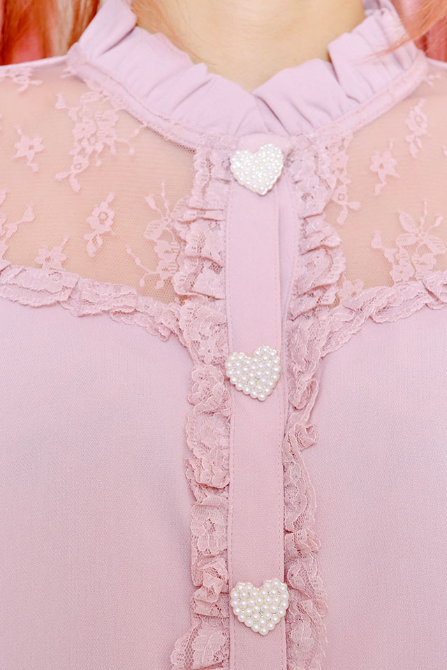 ☆28%OFF☆【Princess Melody】♪レース切替ブラウス♪ - ピンク size-F
