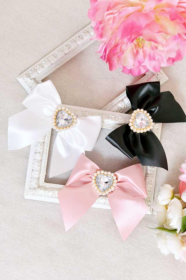 【Princess Melody】♪きらきらハートビジュープリティおりぼんクリップ♪ - ホワイト size-F