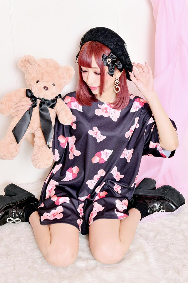 【Princess Melody】♪ソフトくりぃむくまちゃん Tシャツワンピ♪ - ブラック size-F