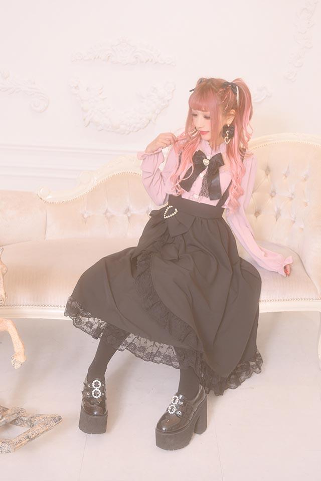 【Princess Melody】♪おりぼん付きラップ風ロングジャンスカ♪ - ブラック size-F
