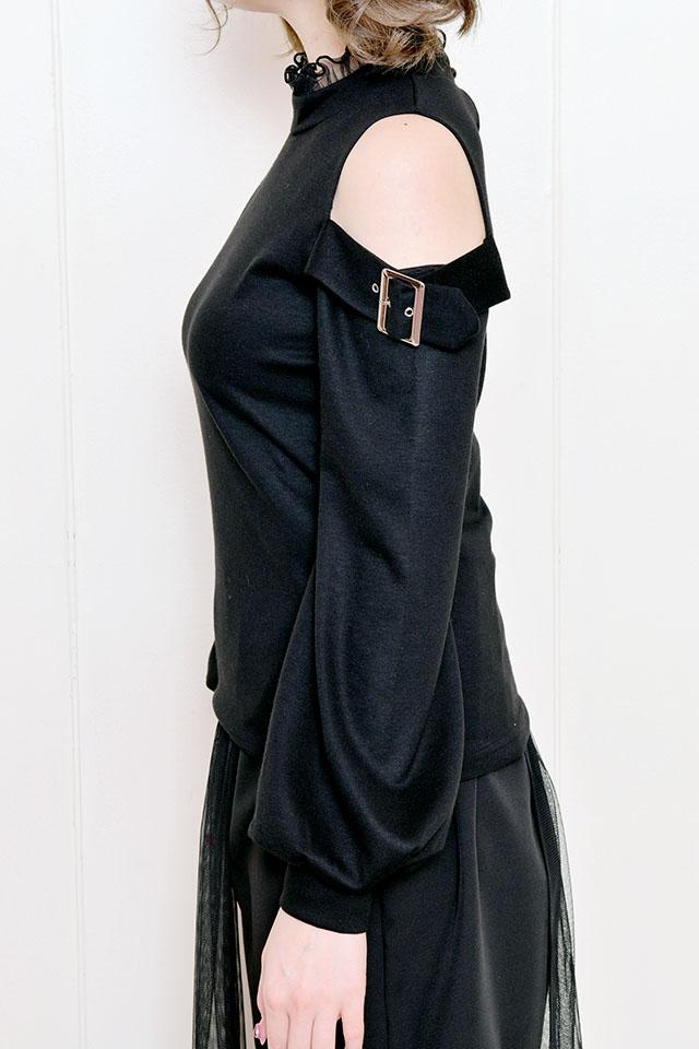 【MA*RS】バックルベルト付き肩あきTOPS - ブラック size-F