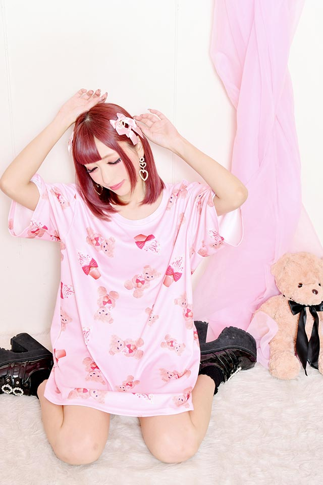 【Princess Melody】♪ソフトくりぃむくまちゃん Tシャツワンピ♪ - ピンク size-F
