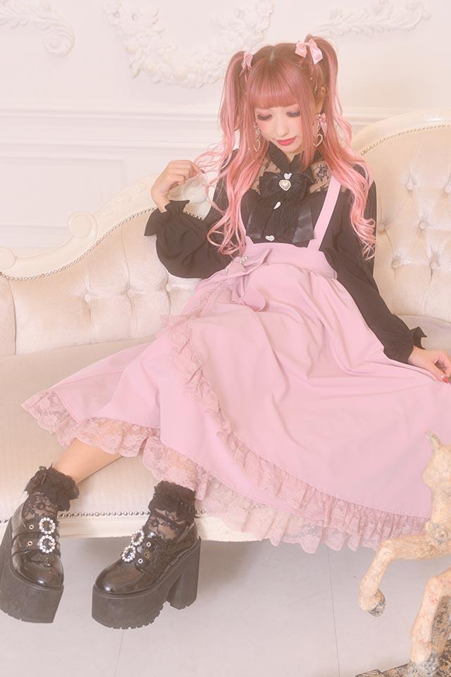 【Princess Melody】♪おりぼん付きラップ風ロングジャンスカ♪ - ピンク size-F