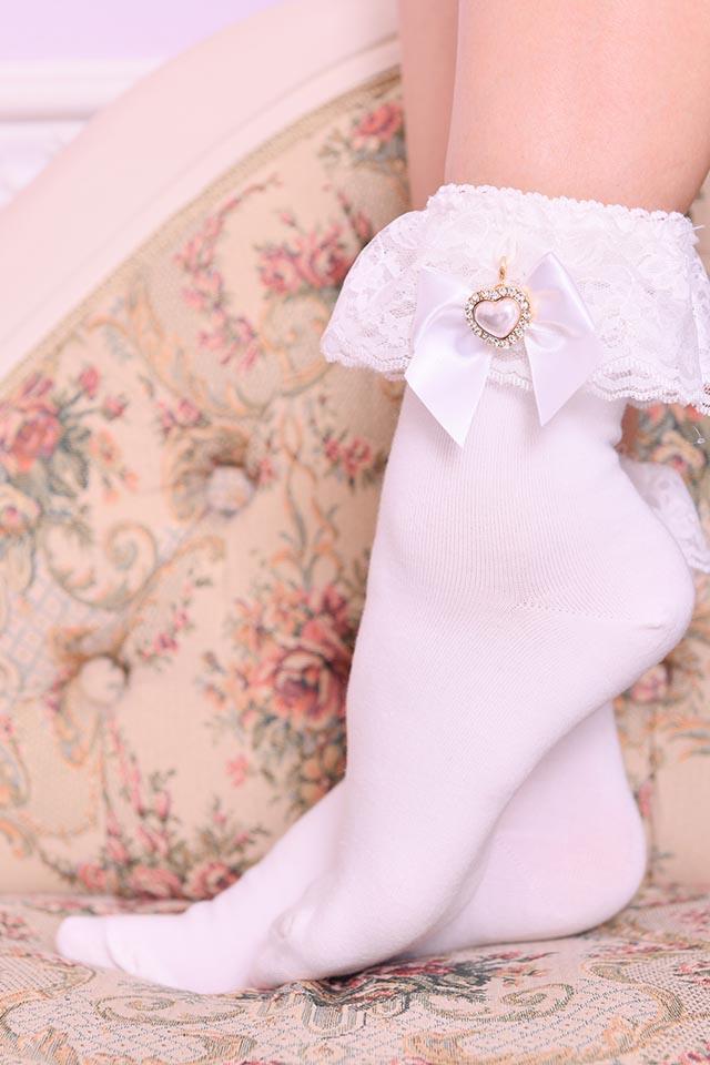 【Princess Melody】♪きらきらパールハートおりぼん付きソックス♪ - ホワイト size-F