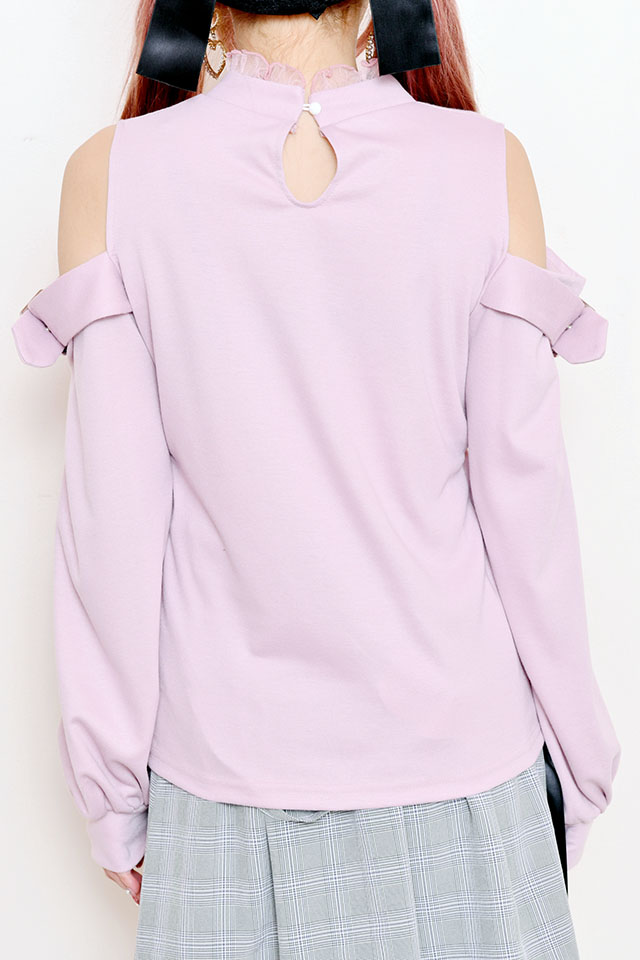 【MA*RS】バックルベルト付き肩あきTOPS - ピンク size-F