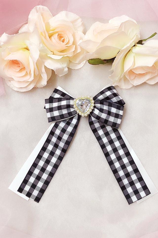 【Princess Melody】♪きらきらハートビジュー×ギンガムチェックリボンクリップ♪ - ホワイト size-F