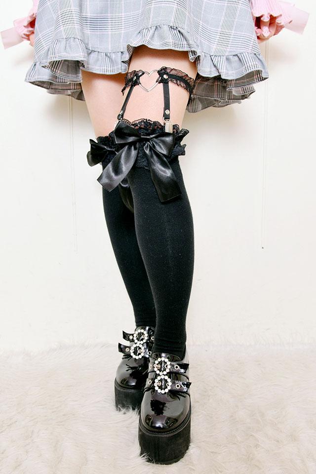 【Princess Melody】♪チュールフリル×ハートリングガーターベルト♪ - ブラック size-F