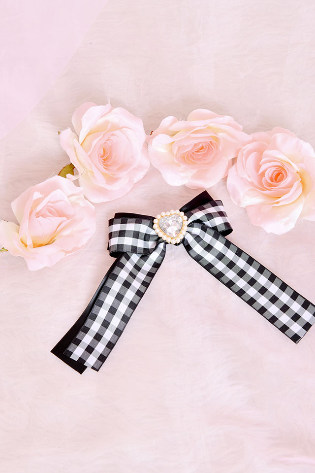 【Princess Melody】♪きらきらハートビジュー×ギンガムチェックリボンクリップ♪ - ブラック size-F