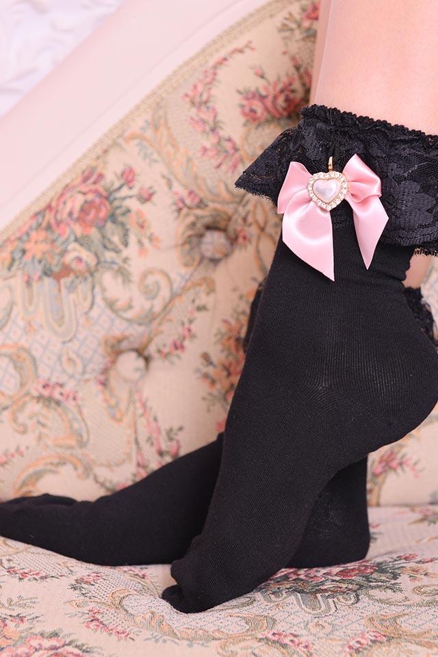 【Princess Melody】♪きらきらパールハートおりぼん付きソックス♪ - ピンク size-F