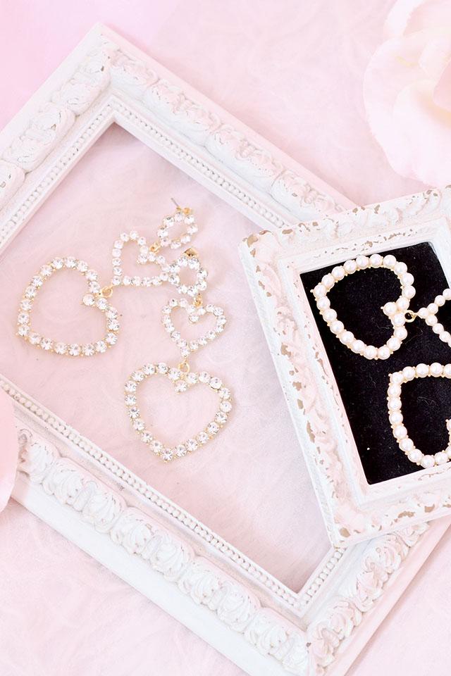 【Princess Melody】♪ダブルハートピアス♪ - ストーン size-F