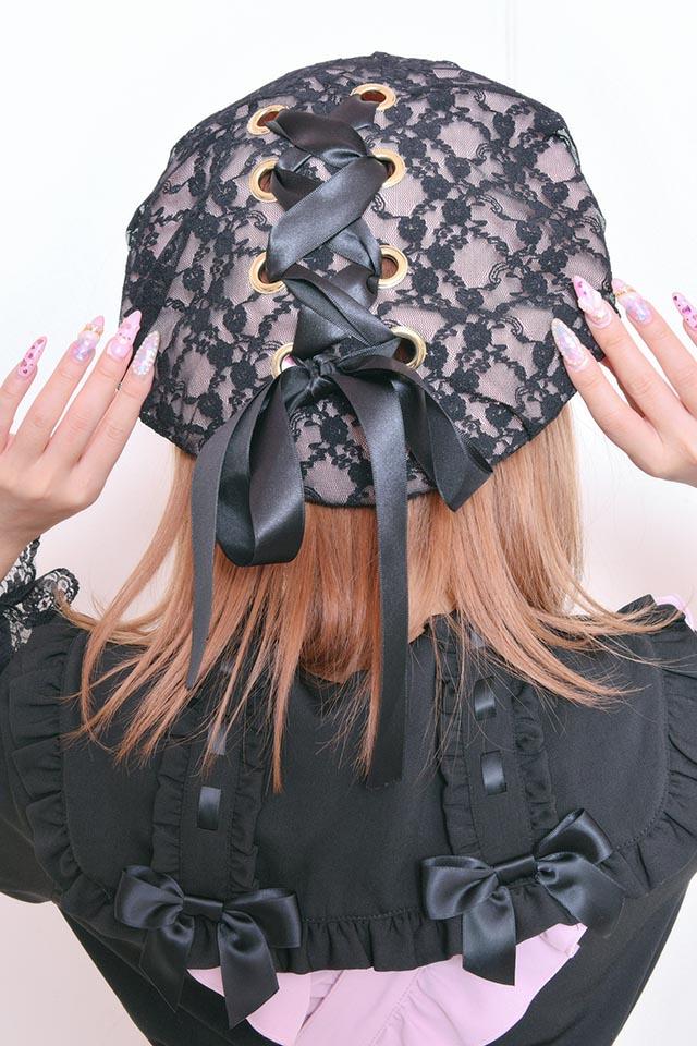 【Princess Melody】♪レースアップおりぼんベレー帽♪ - ピンク size-F