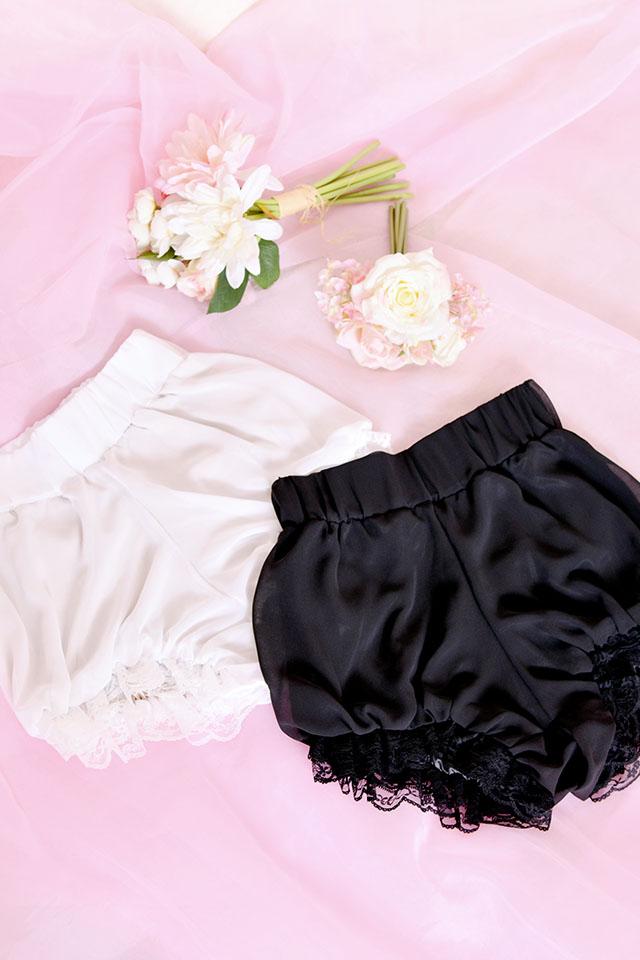 【Princess Melody】♪ダブルスカラレースかぼちゃパンツ♪ - ブラック size-F