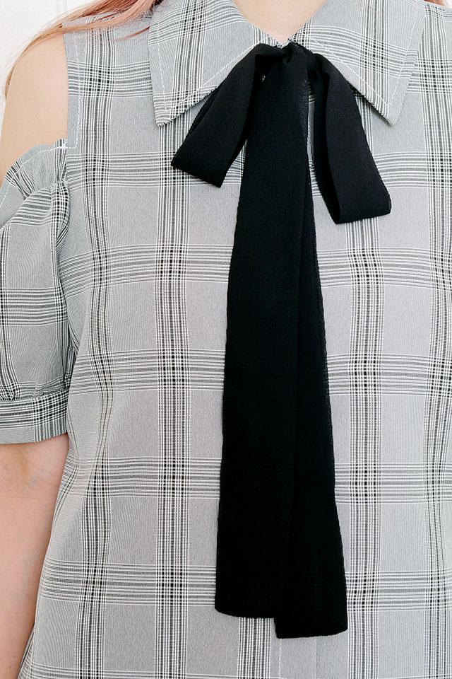 【MA*RS】シフォンリボン付肩あきチェックシャツ - BLK/ホワイト size-F