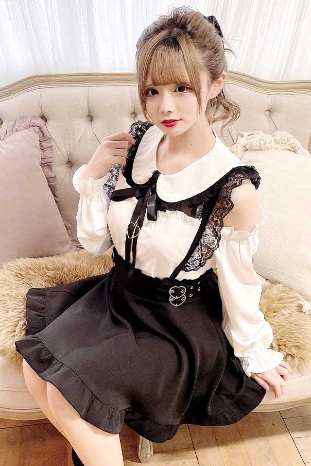 【MA*RS】Wハートバックルスカート - ブラック size-F