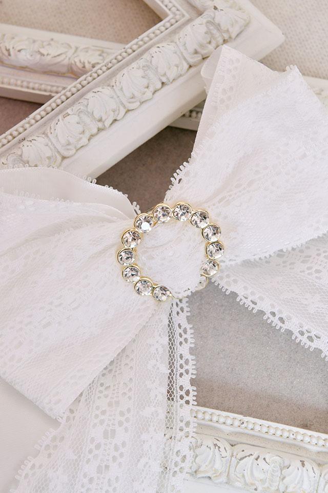 【Princess Melody】♪きらきらリングレースおりぼんクリップ♪ - ホワイト size-F