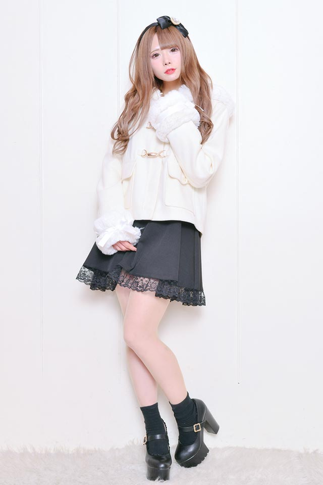 ☆35%OFF☆【MA*RS】袖ファーリボンフード付きショートコート - ホワイト size-F