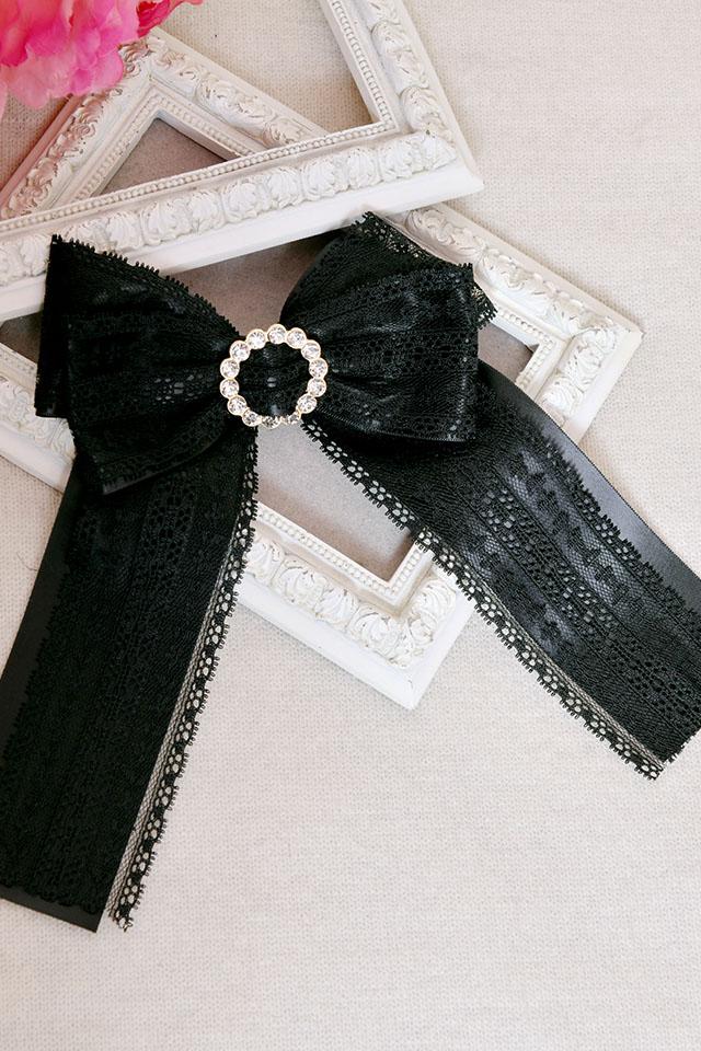 【Princess Melody】♪きらきらリングレースおりぼんクリップ♪ - ブラック size-F