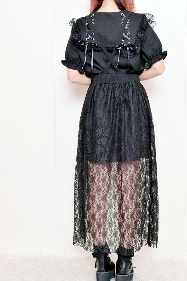 【MA*RS】レース付きZIPスカート - ブラック size-F