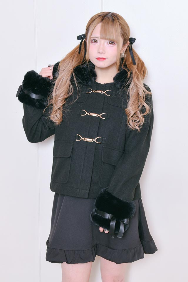 【MA*RS】袖ファーリボンフード付きショートコート - ブラック size-F