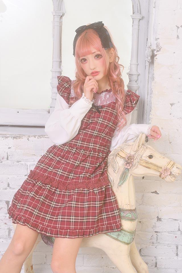 【Princess Melody】♪レイヤード風チェックワンピース♪ - レッド size-F