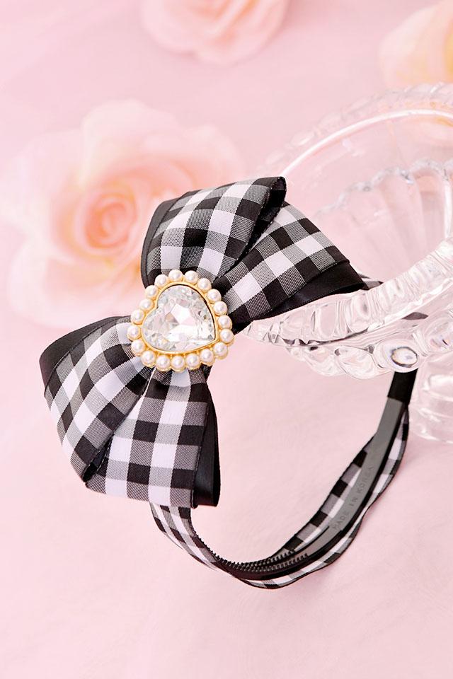 ☆35%OFF☆【Princess Melody】♪きらきらハートビジュー×ギンガムチェックカチューシャ♪ - ブラック size-F