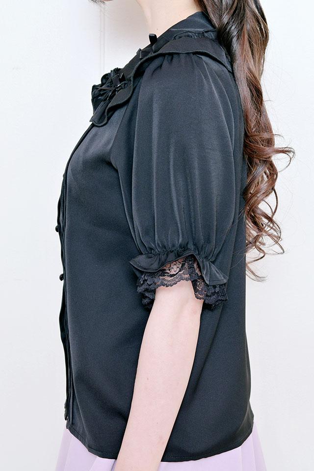 【MA*RS】4つリボン襟ブラウス - ブラック size-F