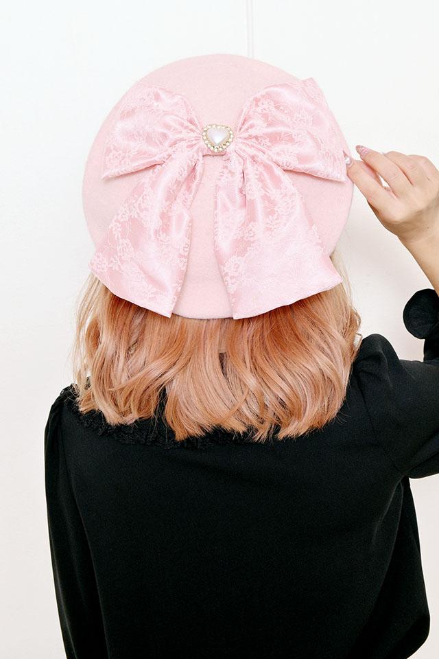 【Princess Melody】♪びっくレースおりぼんベレー帽♪ - ピンク size-F