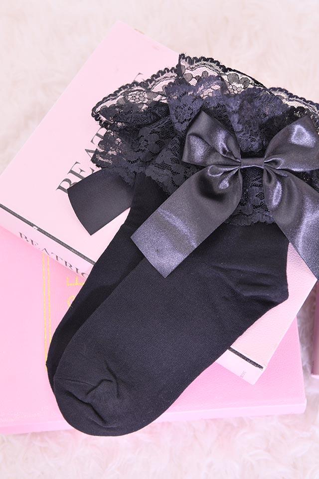 【Princess Melody】♪レース&おりぼんソックス♪ - ブラック size-F