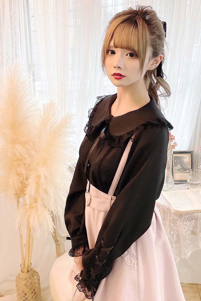 【MA*RS】袖スピンドルレースブラウス - ブラック size-F