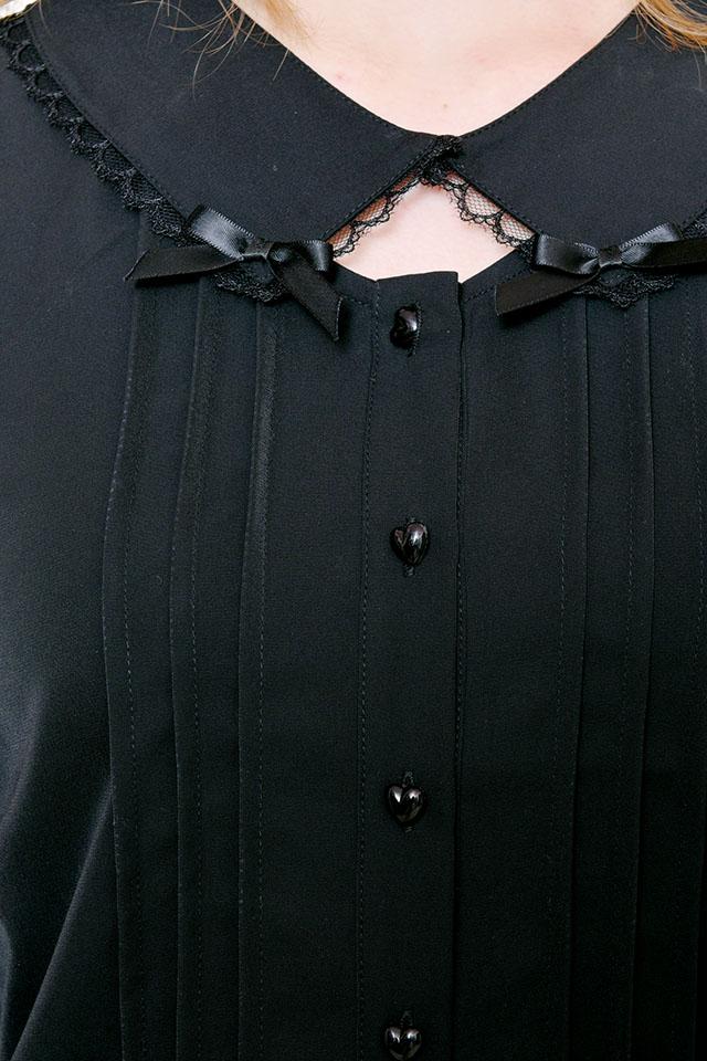 【MA*RS】ハートボタン&ダブルリボンブラウス - ブラック size-F