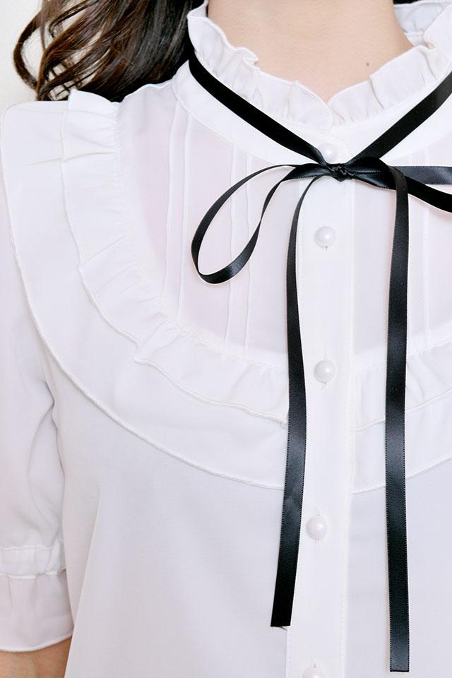 【MA*RS】2段フリルヨークブラウス - ホワイト size-F