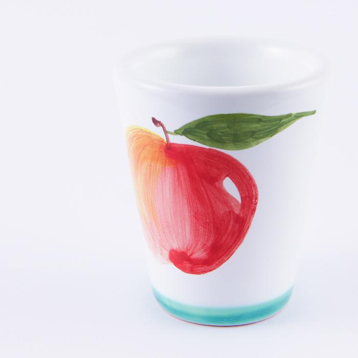 陶器ショットグラス リンゴ 緑